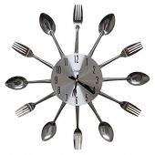 Comfort Home Cutlery Kitchen Spoon & Fork Decorative Wall Clock, Sliver